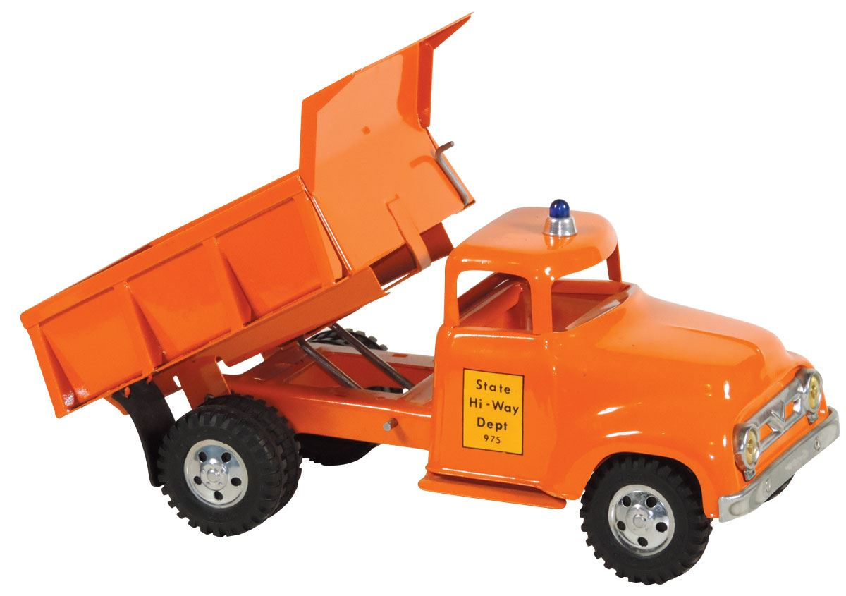Toy dump truck, Tonka Toys State Hi-Way Dept 975, pressed steel,  new-old-stock cond, 13