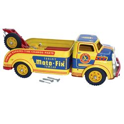 """Toy truck, Wyandotte Moto-Fix Towcar, metal, missing 1 tire on winch, o/wise Exc cond, 14.5""""L."""