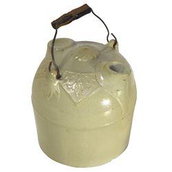 Stoneware jug, F.H. Weeks XXX harvest jug w/intricate design, Rare, c.1890's, jug in Exc cond, wood