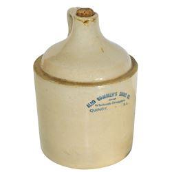 Stoneware advertising shoulder jug, Aldo Sommer's Drug Co.-Wholesale Druggists, Quincy, IL, 1 gal, V
