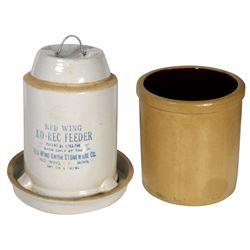 Stoneware crock & feeder, Minnesota Stoneware 1 gal salt glaze, VG/Exc cond w/2 small chips on base