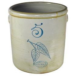 Stoneware crock, Red Wing 5 gal birch leaf w/Union Stoneware oval, Exc+ cond w/no chips or cracks, 1