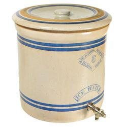 Stoneware ice water cooler w/lid, Pittsburg Pottery (Kansas) 5 gal w/cobalt trim, orig used in the B