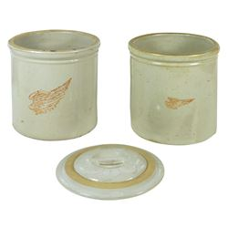 Stoneware crocks & lid (3), Red Wing 1 gal wing crocks, one w/larger wing Good cond w/glaze loss on