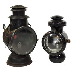 Automobilia, lamps (2), Dietz Tubular Driving Lamp w/red bull's eye, pat date 1890 & Ford-0 Model T