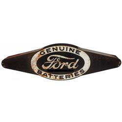 Automobilia, sign, Ford Genuine Batteries, 2-sided pressed steel marquee mounted on wood for hanging