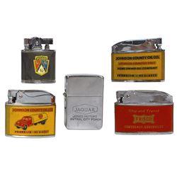 Automobilia, advertising cigarette lighters (5), Ford from Berkeley Motor Sales, Jaguar from Jones M