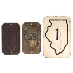 Automobilia, highway signs (3), Illinois 1 & Illinois, both stamped steel, VG cond,