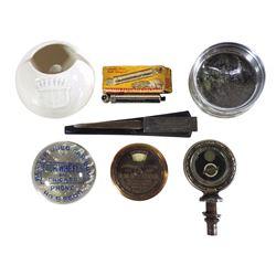 Automobilia, accessories (7), Studebaker Motometer; Four Wheels-Chicago glass paperweight; Firestone