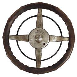 Automobilia, steering wheel, Ford 4-spoke walnut w/cast metal insert, metal etched w/both dealer nam