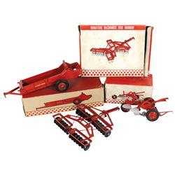 Farm toys (3), McCormick 2-bottom moldboard plow, Tractor Spreader (in box) & Disk Harrow, mfg by Es