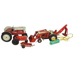 Farm toys (4), Ford 1841 Industrial battery operated tractor w/loader & backhoe, Hubley Kiddie Toy t