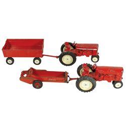 Farm toys (4), Ertl International tractor w/grain wagon & International tractor w/IH McCormick-Deeri