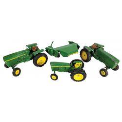"Farm toys (4), John Deere  tractors & hay mower marked ""Ertl"", cast metal w/rub"