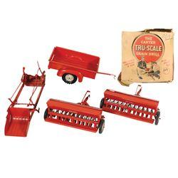 Farm toys (4), Tru Scale trailer & loader, 2 Tru Scale Carter grain drills (1 in box), pressed steel