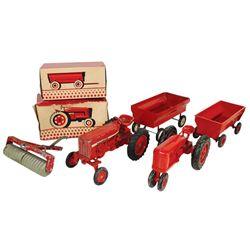 Farm toys (5), McCormick Farmall tractor & flare box wagon, both plastic, Exc cond in Good/VG cond b