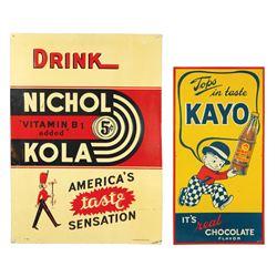 "Soda fountain signs (2), Drink Nichol Kola, by Parker Metal Dec. Co.-Baltimore, MD, 28""H x 20""W & Ka"