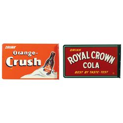 Soda fountain signs (2), Royal Crown Cola, Best by Taste-Test, 2-sided metal flange, Exc cond, 10.75