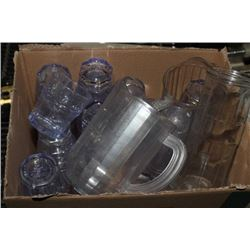 BOX OF PLASTIC TUMBLERS AND JUGS