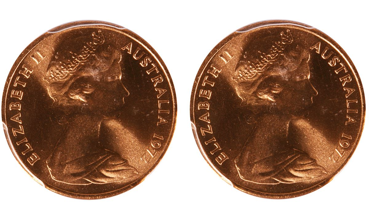 1972 Australian QEII One Cent Coin - PCGS MS67RD
