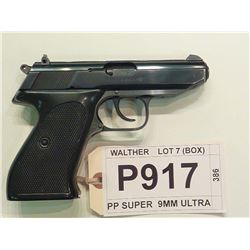 WALTHER , MODEL PP SUPER, CALIBER 9MM ULTRA