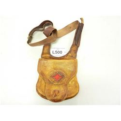 CUSTOM LEATHER POSSIBLES BAG, COMES WITH HANDMADE PATCH KNIFE WITH ANTLER HANDLE