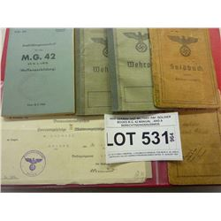 WWII/WWI GERMAN NAZI MILITARY PAY/SOLDIER BOOKS M.G. 42 MANUAL , AND A BERECHTIGUNGSAUSWEIS