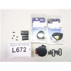 SCOPE COVERS, BASES AND SWIVELS, NEW IN PACKAGE