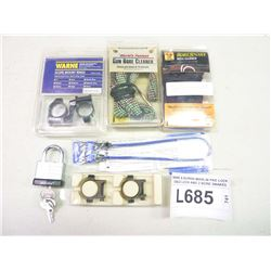 WARNE & BURRIS MARLIN PAD LOCK CABLE LOCK AND 2 BORE SNAKES