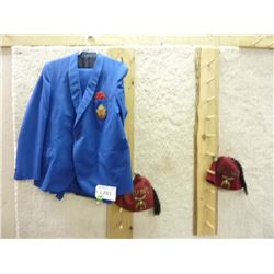 SHRINERS HATS, AND A BLUE UNIFORM, BLAZER AND PANTS