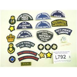 ASSORTED MILITARY/POLICE/FIRE FABRIC CRESTS/BADGES