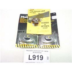 TRIGGER LOCKS SET OF 3 NEW IN PACKAGE