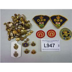ONTARIO PROVINCIAL POLICE ASSORTMENT OF CAP /UNIFORM BADGES, UNIFORM BUTTONS, FABRIC CRESTS