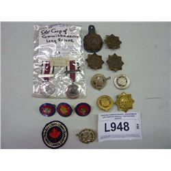 CANADIAN COMMISSIONAIRES  ASSORTMENT LONG SERVICES MEDALS, CAP/UNIFORM BADGES