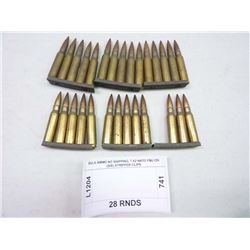 BULK AMMO NO SHIPPING, 7.62 NATO FMJ ON (SIX) STRIPPER CLIPS