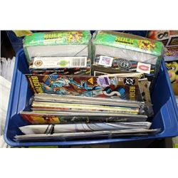 BOX OF ASSORTED COMICS AND COLLECTOR CARDS