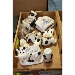FLAT OF COW COLLECTIBLES W/ WINDCHIME, SALT AND