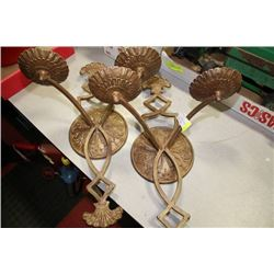 PAIR OF METAL CANDLE SCONCES
