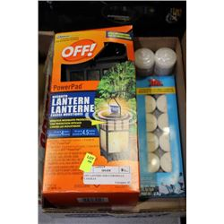 OFF LANTERN AND CITRONELLE CANDLES