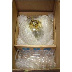 VINTAGE OIL LAMP WITH 3 VINTAGE GLASS BOWLS