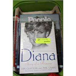 BOX OF PRINCESS DIANA BOOKS AND NEWSPAPERS