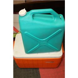TWO COOLERS AND WATER JUG CAMPING SUPPLIES