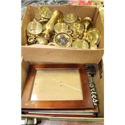 BOX OFSMALL WALL ART, WITH TRAY OF BRASS