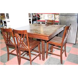WOOD BAR TABLE WITH 4 STOOLS