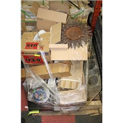 PALLET OF ASSORTED SHOP SUPPLIES AND HOUSEHOLD