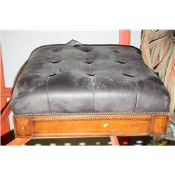 WOOD AND LEATHERETTE OTTOMAN NO LEGS