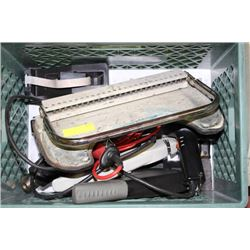 BOX WITH HEAT GUNS, BINDING MACHINE AND STAPLERS