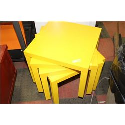 SET OF 4 YELLOW END TABLES