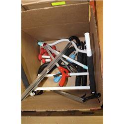 BOX WITH ESTATE UMBRELLAS, WEIGHTS, GARBAGE PICKER