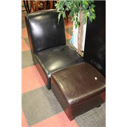 SHOWHOME BLACK LEATHERETTE CHAIR WITH BROWN STOOL
